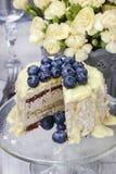 Biały i ciemny czekoladowy warstwa tort dekorował z czarnymi jagodami obraz stock