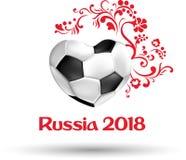 Biały i czerwony Rosja 2018 futbolowych pucharów świata kart Zdjęcia Royalty Free