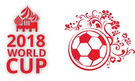 Biały i czerwony Rosja 2018 pucharów świata futbolu karta ilustracji