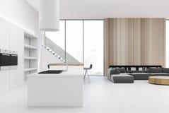 Biały i drewniany kuchenny wnętrze, żywy pokój ilustracja wektor