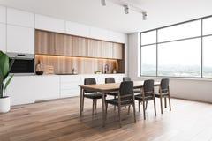 Biały i drewniany loft kuchni kąt z stołem ilustracji