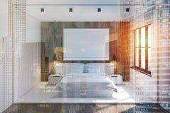 Biały i drewniany sypialni wnętrze, plakat tonujący Fotografia Stock