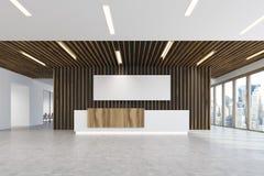 Biały i lekki drewniany przyjęcia światła biura plakat Ilustracji