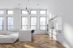Biały i marmurowy kuchenny wnętrze, wyspa ilustracji