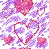 Biały i purpurowy wektorowy bezszwowy tło z sercami Zdjęcia Royalty Free
