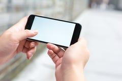 Biały i pusty ekran mądrze telefon Fotografia Royalty Free