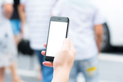 Biały i pusty ekran mądrze telefon Zdjęcia Royalty Free