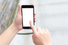 Biały i pusty ekran mądrze telefon Obrazy Royalty Free