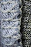 Biały i szary ścieg wełny tkaniny wzór makro- Fotografia Royalty Free