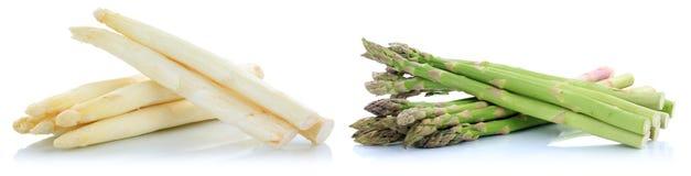 Biały i zielony szparagowy świeży warzywo odizolowywający Zdjęcie Royalty Free