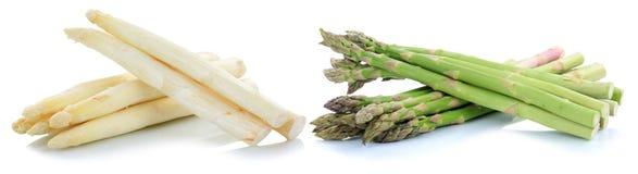 Biały i zielony szparagowy warzywo odizolowywający Zdjęcie Royalty Free