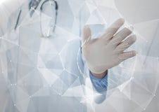 Biały interfejs z racą przed lekarką z ręką out przeciw rozmytemu okno Obrazy Stock