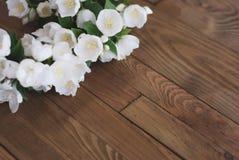 Biały jaśmin Kwitnie Małych Białych kwiaty na Brown Starym Drewnianym tle Przestrzeń dla teksta obrazy stock