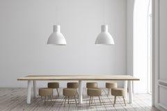 Biały jadalni wnętrze, tęsk stół royalty ilustracja