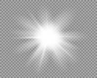 Biały jaskrawy światło, świecenie Dekoracyjna element narzuty błyskotliwość, wybuch, gwiazdowy połysk Wektorowy projekt nowy rok, royalty ilustracja