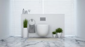 Biały klozet w domu lub hotelu - 3D rendering ilustracja wektor