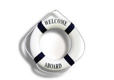 Biały koloru życia buoyancy z powitaniem na pokładzie odosobniony na bielu obraz stock