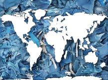 Biały kontur światowa mapa fotografia royalty free