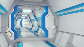 Biały korytarz statek kosmiczny z błękitnym wystrojem fantastyka naukowa statku kosmicznego 3d illustartions royalty ilustracja