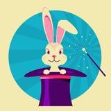 Biały królik w magicznym kapeluszu Wektorowa etykietka magiczny przedstawienie ilustracja wektor