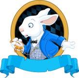 Biały królik z zegarka projektem ilustracja wektor