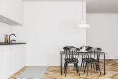 Biały kuchenny wnętrze, czerń stół, drewno ilustracja wektor