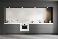 Biały kuchenny wnętrze, szarzy countertops ilustracji