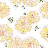 Biały kwiecisty wzór z żółtą dalią ilustracji