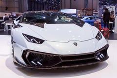Biały Lamborghini Huracan Lemański Motorowy przedstawienie 2015 Obrazy Stock