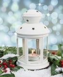 Biały lampion z magicznym tłem Obrazy Stock