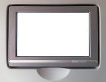 Biały LCD ekran w samolocie obrazy royalty free