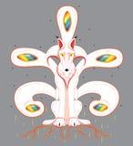 Biały lis z pięć ogonami Obraz Royalty Free