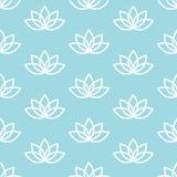 Biały lotos na błękitnym tła zen wzorze bezszwowym Zdjęcie Stock