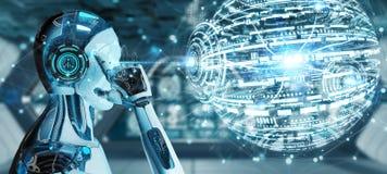 Biały męski robot używać cyfrowego kuli ziemskiej hud interfejsu 3D rendering ilustracja wektor