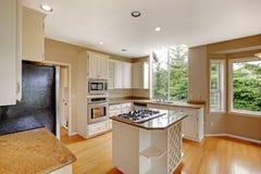 Biały mały klasyczny Amerykański kuchenny wnętrze z kuchenną wyspą i granitu odpierającym wierzchołkiem Obraz Royalty Free