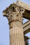 Biały marmurowej kolumny głowy szczegół Zeus świątynia Zdjęcie Royalty Free