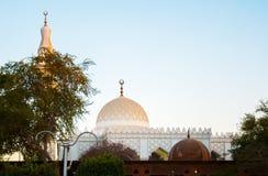 Biały meczet w zielonych palmach w Egipt Obrazy Royalty Free