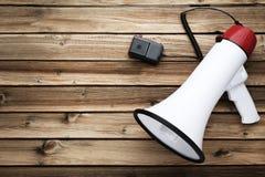 Biały megafon fotografia stock
