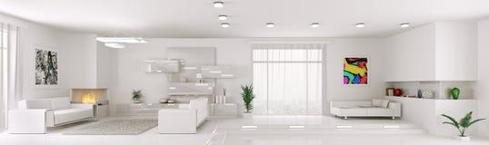Biały mieszkanie panoramy wnętrze 3d odpłaca się Zdjęcia Stock