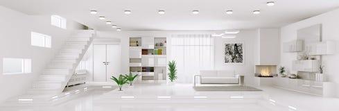 Biały mieszkanie panoramy wnętrze 3d odpłaca się Fotografia Stock