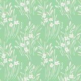Biały monochromatyczny abstrakcjonistyczny ditsy gestural kwiecisty wektorowy bezszwowy wzór Wiosna kwiaty, ulistnienie ilustracji