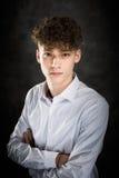 Biały nastoletniego chłopaka studia portret obrazy royalty free