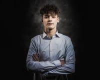 Biały nastoletniego chłopaka studia portret obraz stock