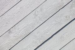 Biały nieociosany drewniany deski tło Obrazy Royalty Free