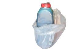 Biały nieprzezroczysty plastikowy worek fotografia stock