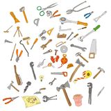 biały odosobneni remontowi narzędzia Przemodelowywa narzędzia rocznika set zdjęcia stock