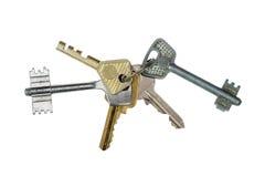 biały odosobneni wiązka klucze Obrazy Stock