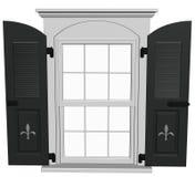 Biały okno z czarnymi żaluzjami, odosobnionymi Obraz Stock