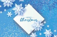 Biały Origami opad śniegu Wesoło bożych narodzeń powitań karta Białego papieru rżnięty śnieżny płatek szczęśliwego nowego roku, Z Obrazy Royalty Free