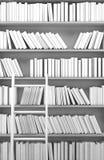 Biały półka na książki z książkami świadczenia 3 d ilustracji